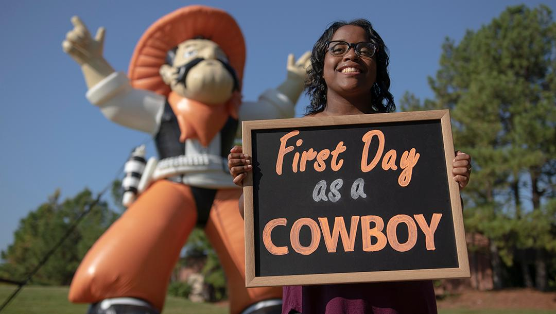 Pistol Pete welcomed students back to campus this week.