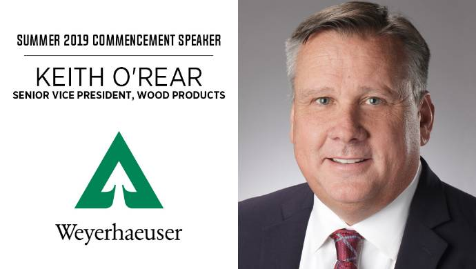 Weyerhaeuser Executive to Deliver Summer Commencement Address Thursday, August 15, 2019