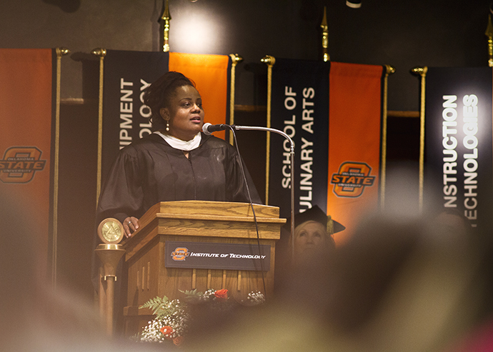 Chef Jennifer Hill Booker addresses graduating class