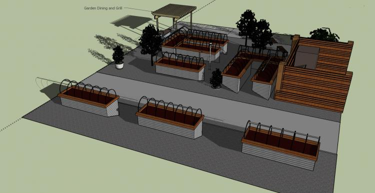 Rendering of the Outdoor Teaching Garden for the School of Culinary Arts.
