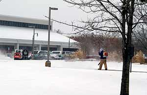 OSUIT staff clearing snow