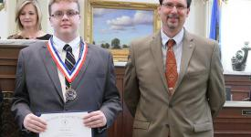 Information Technologies student Dylan Jones was recognized at the Oklahoma State Capitol for being named to the All Oklahoma/All USA Academic Team. OSUIT President Bill R. Path also attended the ceremony.