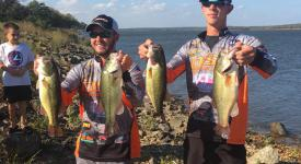 Power Plant Technology students Blake Capps, left, and Logan Moody pose with their catches after the FLW YETI College Fishing Southern Regional Tournament, where the duo came in 4th our of 94 teams.
