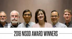 2018 National Institute for Staff and Organizational Development Excellence Award winners Gene Leiterman, Julie Byers, Dr. Abul Hasan, Terry Hanzel, Bob Pope and Carl Sampson