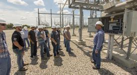 Instrumentation and Electrical/Electronics students tour a KAMO Power substation near Okemah.