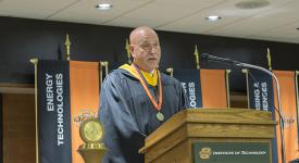 Summer 2018 commencement speaker Robert Gleichman, director of innovation for Flint Hills Resources and an OSUIT alumnus of the School of Diesel & Heavy Equipment.